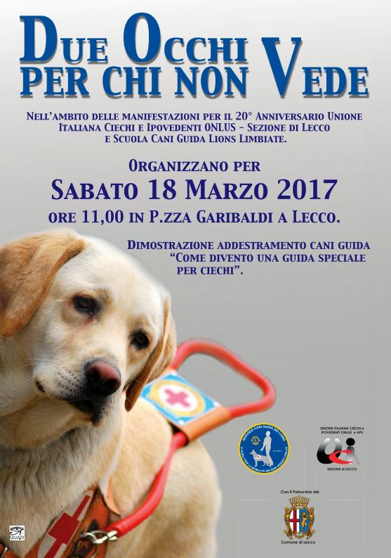 Locandina dimostrazione cani guida dei Lions a Lecco