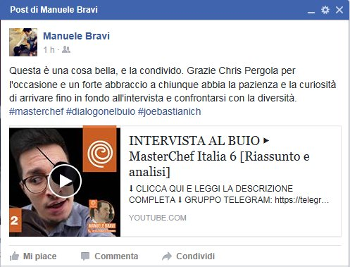 Post facebook di Manuele