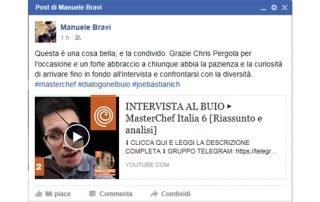 Post di Manuele su Facebook