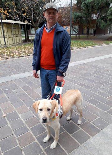 Claudio e il suo cane guida Mauriac