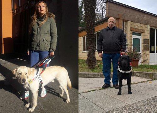 Valley e Dolly cani guida per Veronica e Maurizio