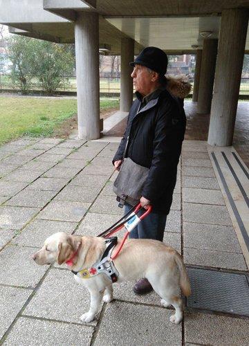 Giuseppe e Gialla, cane guida.