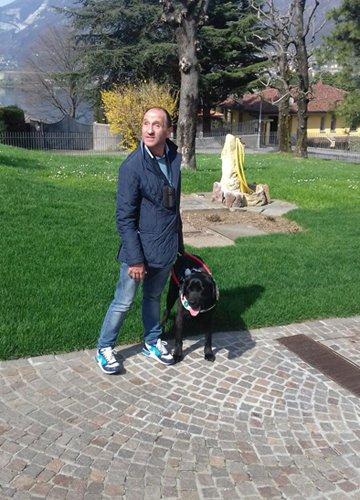 Luca ed Eolo, il suo cane guida.